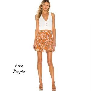 Free People Floral Skirt Nouveua Chestnut Size 10